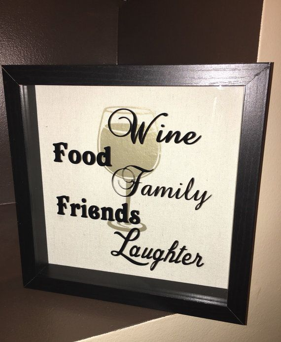 9x9 shadow box wine cork holder. Wine, food, family, friends, laughter. You can use as a wine cork holder or just use as great decor. The words are on the inside of the glass with a large wine glass in the backdrop. The white wine image will be the defaul