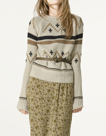 More for sweater weather. Zara Round neck Jacquard Jersey. $59.90