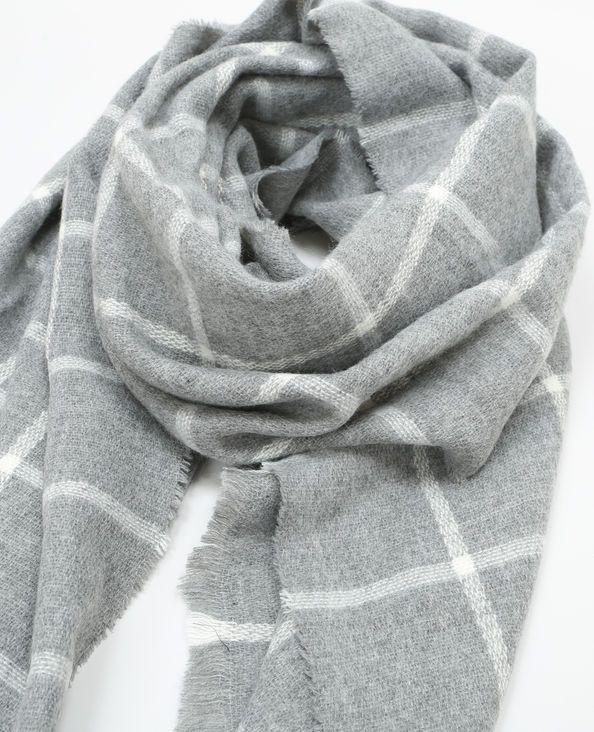 Bufanda manta de cuadros gris