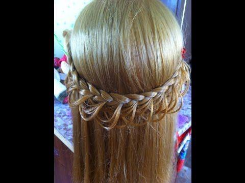 Ажурная коса (косичка). Простые повседневные прически 2014 на длинные и средние волосы - YouTube