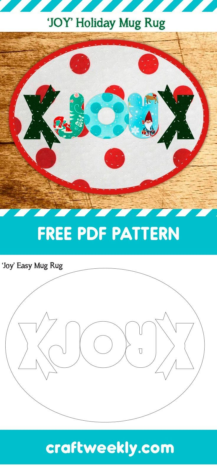 1d6de77a4ee04 LOVE this free PDF pattern for a mug rug. Perfect for a quick DIY Christmas  gift or just a holiday sewing project. #christmascrafts #sewing #freepattern