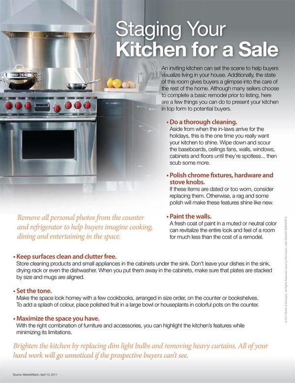 Kitchen Staging Tips//will need in a couple years when we move