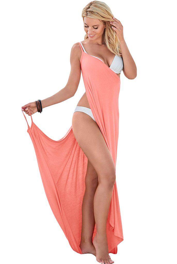 Pink Greek Goddess Spaghetti Strap Sarong Beach Wrap Dress MB42179-10 – ModeShe.com
