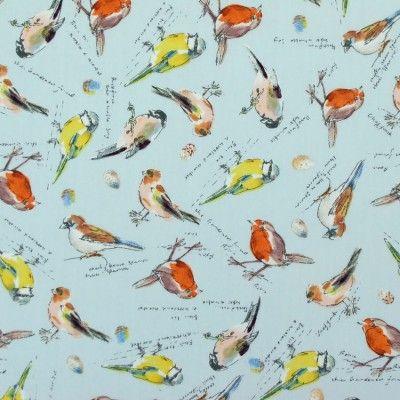 Pale blue british bird design cotton poplin fabric   Material   Ditto fabrics online shop