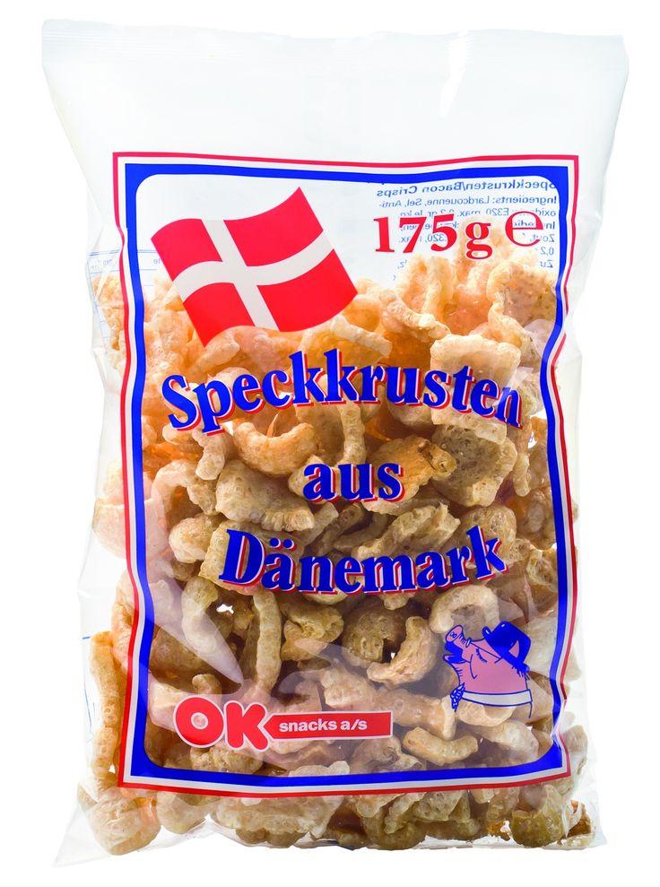 OK Snacks #Baconchips zijn originele spekkorstjes uit Denemarken, lekker krokant en kruidig van smaak.