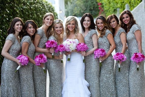 silver sequin bridesmaids dresses by theia - AHHH love it.. Another Laura sparkly dress