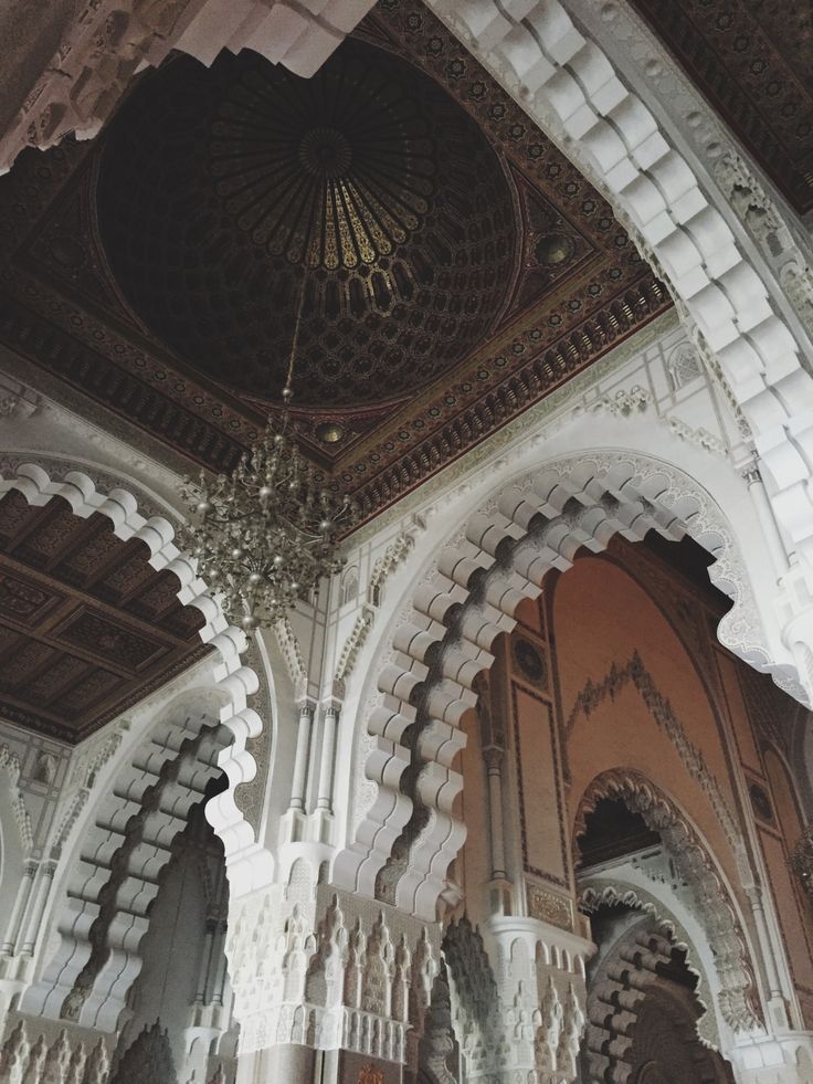White marble and carvings inside of Hassan II Mosque, Casablanca, Morocco