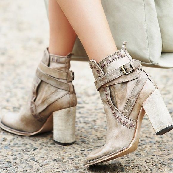 NWOT Free People Heirloom Taupe Bootie boot heel Brand new! Bought them for  my mom