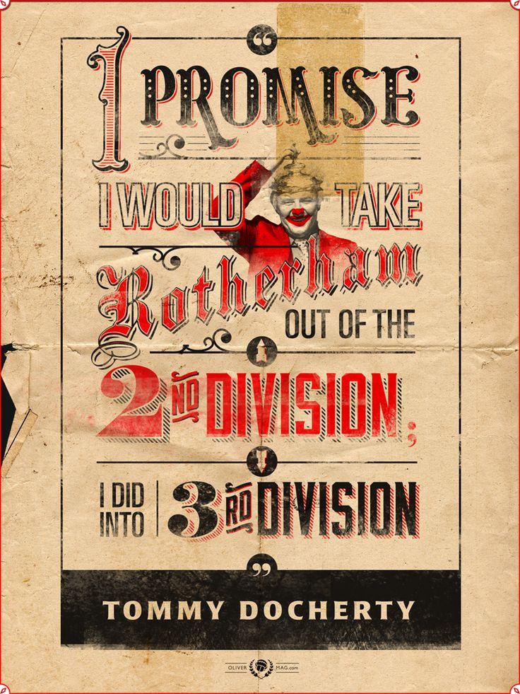 """""""Prometí sacar al Rotherham de la segunda división y lo hice, bajamos a tercera"""". – #TommyDocherty #Rotherham #England #Football #Futbol #Soccer  http://olivermag.com/tommy-docherty/"""