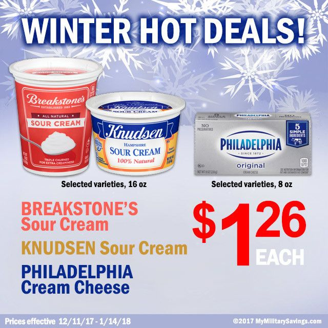Save BIG on BREAKSTONE'S Sour Cream and KNUDSEN Sour Cream + PHILADELPHIA Cream Cheese at the Commissary! Kraft Heinz   Featured Brands   My Military Savings   Deals, Coupons