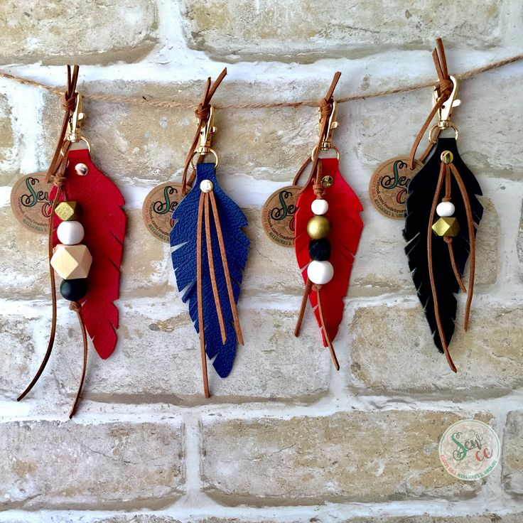 Leather feather keyrings