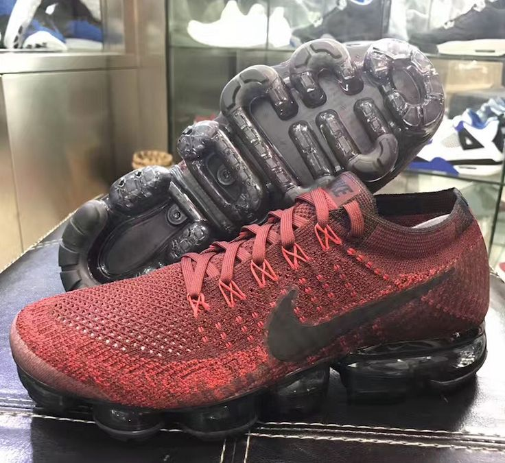 big sale 8de28 99cfb ... New images of the Nike Air VaporMax Dark Team Red are featured. The  sneaker is Nike Flyknit Air Max Premium Mens Sneakers Shoes Dark Gray ...