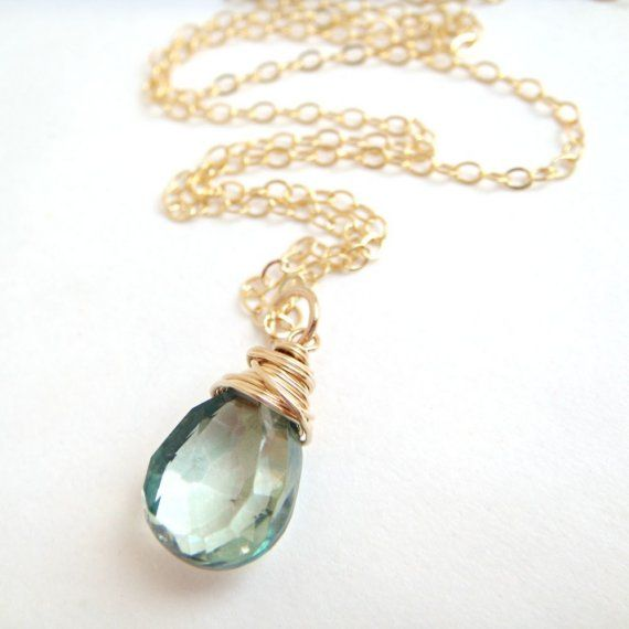 Teal kwarts ketting 14k Gold vullen Wire Wrapped door aubepine