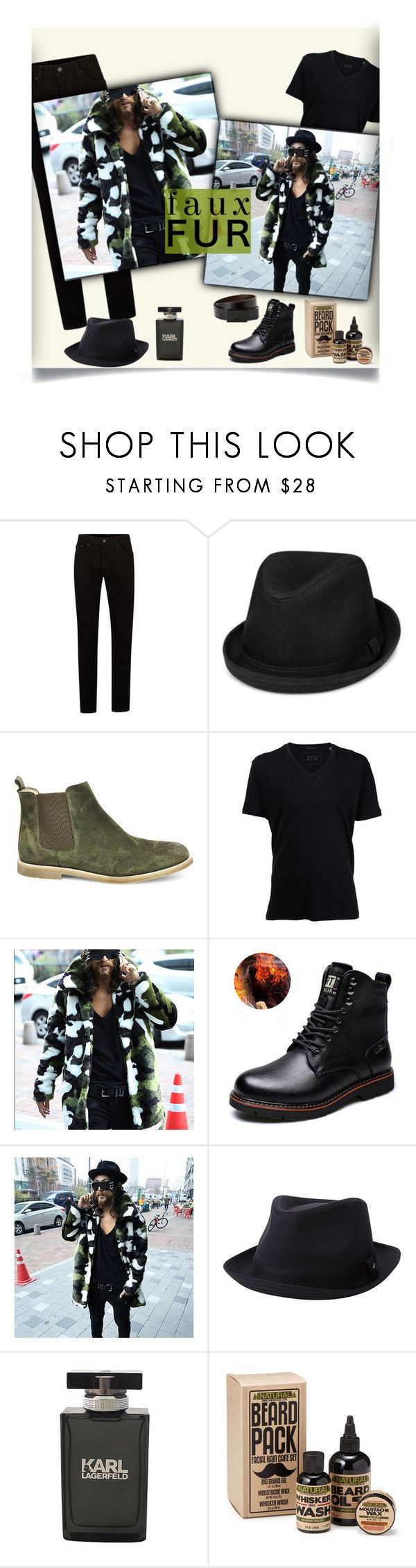 """""""Faux Fur Coats: Camouflage Parka"""" by tailormadelady ❤ liked on Polyvore featuring Topman, Levi's, Steve Madden, ATM by Anthony Thomas Melillo, Haggar, Karl Lagerfeld, Kenneth Cole Reaction, men's fashion and menswear"""