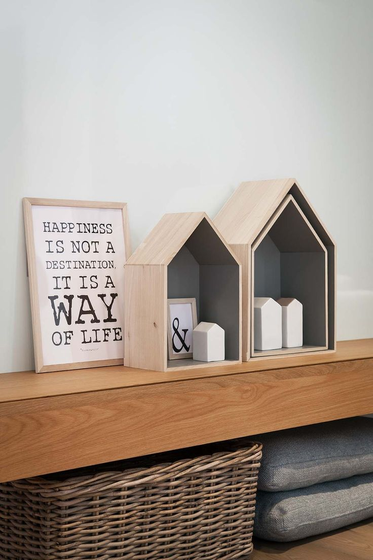 Got these wooden house shelves in grey and neon pink!