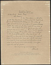 The Bixby letter is a letter sent from the United States President Abraham Lincoln to a bereaved mother of five sons who were thought to have died while fighting for the Union in the American Civil War. The brief, consoling message was written in November 1864 to Lydia Bixby, a widow living in Boston, following a request from Massachusetts Governor John Albion Andrew. The text has been widely praised as one of Lincoln's finest works of writing.