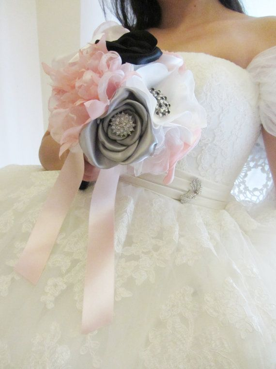 Fabric flower bouquet, Pink and black bouquet, Satin rose bouquet, Peony bouquet, Anemone bouquet - Made to order. $110.00, via Etsy.