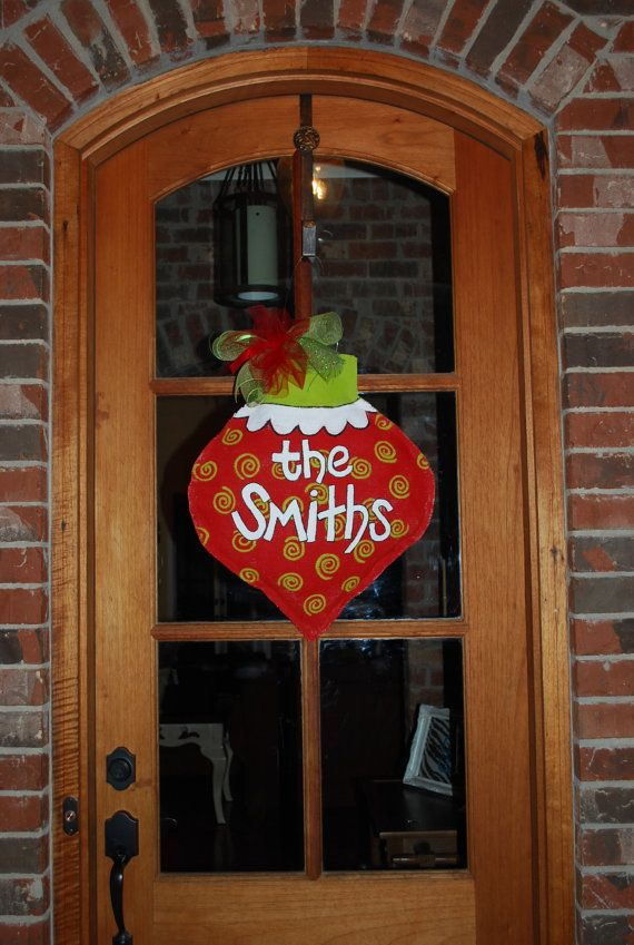 Personalized Burlap Door Hanger. Cute! And looks like it would be very easy to make, too!