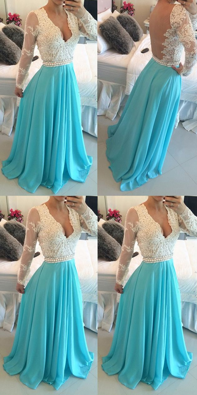 New Style Plunge V-neck Prom Dress, Two-toned Long Sleeve Prom Dress, Floor-length Lace Prom Dresses, #020102161