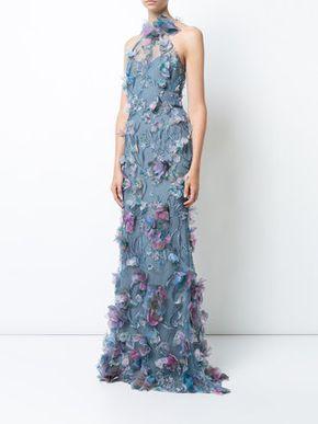 1514de7532594 Marchesa Notte Embroidered floral-appliquéd Gown in 2019
