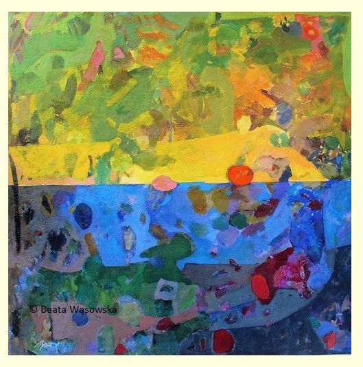 Beata Wąsowska, malarstwo Światło i cień, 80x80cm, olej na płótnie nr kat. 24-81 [2004] #art  #womensart #polishart #malarstwo #malarstwoPolskie #krajobraz #malarstwoKobiet