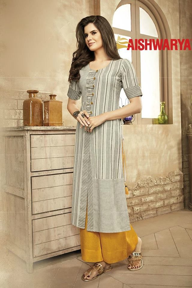 Take your casual dressing to a new style level with this enticing suit. Buy Suit online - http://www.aishwaryadesignstudio.com/subtle-grey-designer-palazzo-suit
