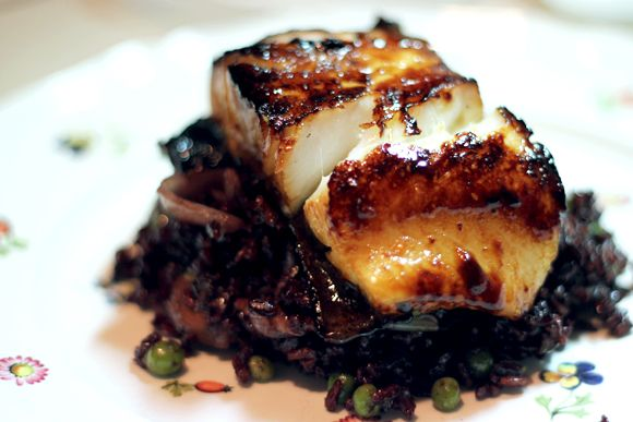 Miso glaze. The recipe uses sea bass, but vegans and vegetarians could sub tofu or tempeh.