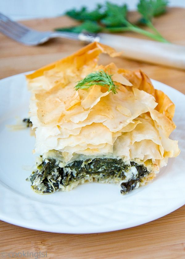 Popular Greek Spinach and Feta Pie (Spanakopita) s great for a meatless, light every day. Simple one pot meal,packed with wonderful flavors.