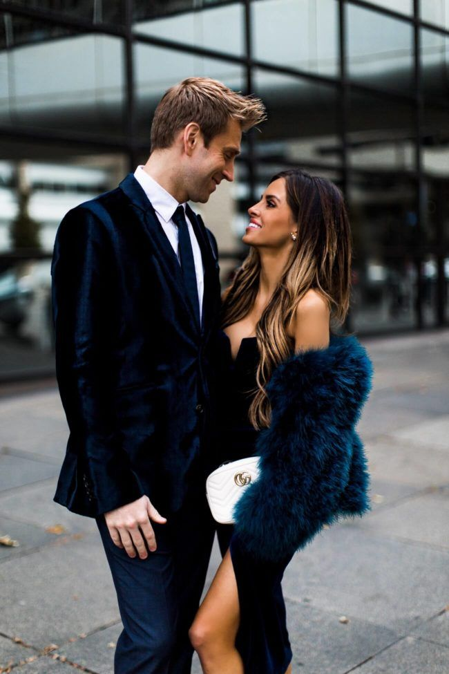 28 DEC, 2017 His & Hers New Year's Eve Attire – Outfit Details: Yumi Kim Velvet Dress Yumi Kim Feather Jacket GG Marmont Bag Marion Parke Feather He…
