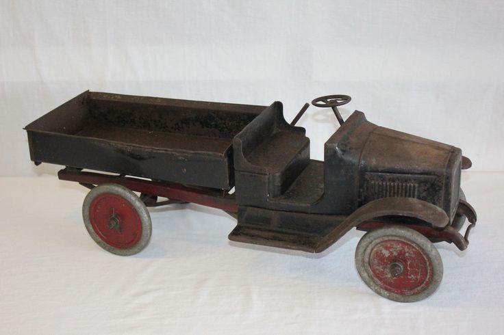 Vintage 1920's Buddy L Pressed Steel Hydraulic Dump Truck 24 Inches Must L@@K