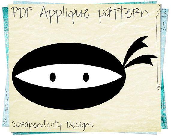 Ninja Clothing Applique Pattern - Superhero Fabric Quilt / Ninja Baby Applique Template / Superhero Shirt Template / Karate Applique AP133-D