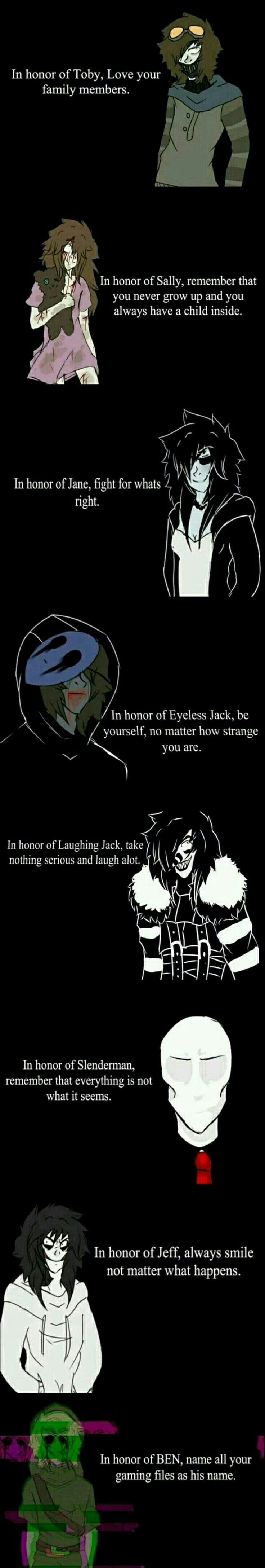 Ticci Toby, Sally, Jane the Killer, Eyeless Jack, Laughing Jack, Slenderman, Jeff the Killer, Ben Drowned, sad, text; Creepypasta