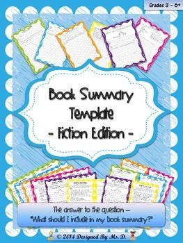 Book Summary Template - Fiction Edition  $