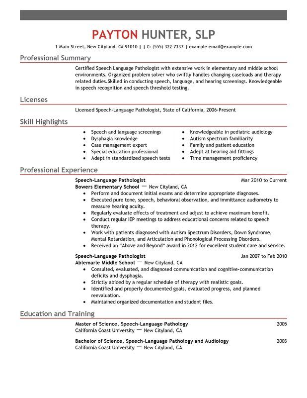 objective resume examples for a speech pathologist