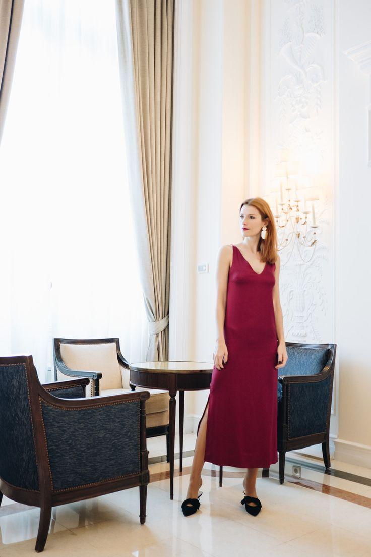 Red slip dress; silk dress; how to style a slip dress - Suvelle Cuisine