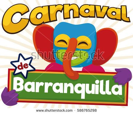 Cartoon poster for  Barranquilla's Carnival (written in Spanish) with happy marimonda (traditional Colombian character for this holidays) who enjoy the parade.