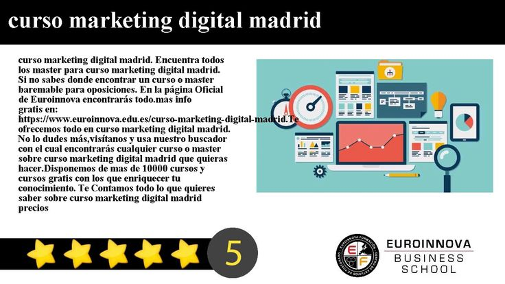 curso marketing digital madrid - curso marketing digital madrid. Encuentra todos los master para curso marketing digital madrid. Si no sabes donde encontrar un curso o master baremable para oposiciones. En la página Oficial de Euroinnova encontrarás todo.    mas info gratis en: https://www.euroinnova.edu.es/curso-marketing-digital-madrid.    Te ofrecemos todo en curso marketing digital madrid. No lo dudes másvisítanos y usa nuestro buscador con el cual encontrarás cualquier curso o master…