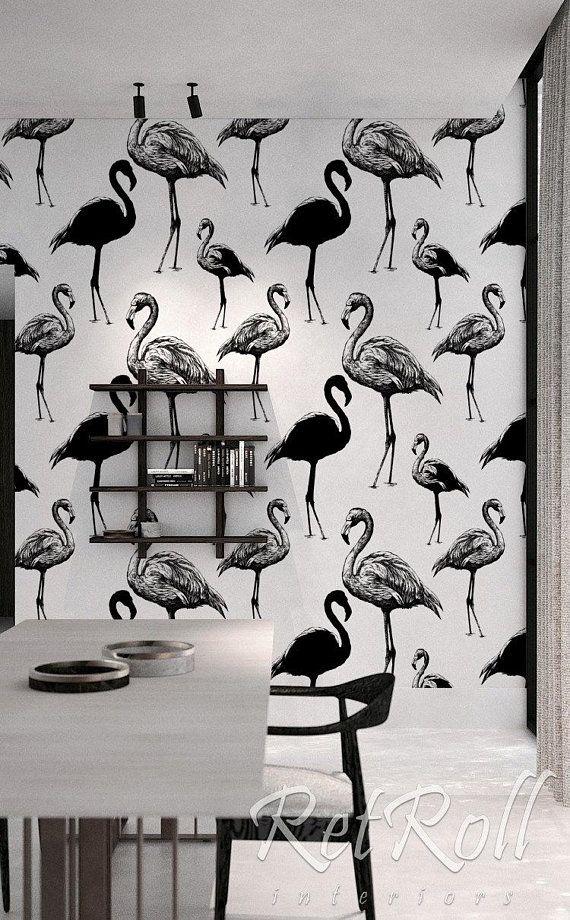 Retro Flamingo Removable Wallpaper Black And White Peel Etsy Removable Wallpaper Wall Wallpaper Wallpaper