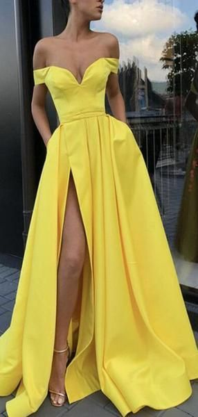 A-Line Sexy Split Yellow Elegant Long Satin Off Shoulder Prom Dresses,Evening Gowns, PD0946 A-Line Sexy Split Yellow Elegant Long Satin Off Shoulder Prom Dresses,Evening Gowns, PD0946