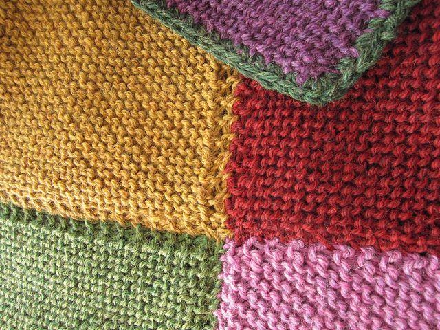 Garter Blanket Squares Knitted Together Knitting