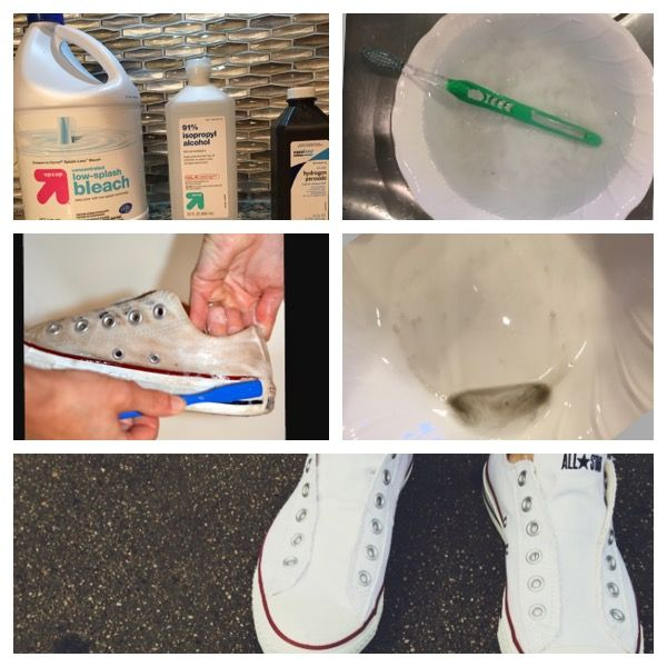 Gets the ingredients bleach, hydrogen peroxide, detergent, rubbing alcohol, and water. Mix all ingredients together in a small bowl, it does not matter how much you use. Get your white converse, and remove the shoelaces. Put the shoelaces it aside for later. Then Find a toothbrush you no longer use, and scrubbed the crap out of your Converse. Once you have finished scrubbing your Converse you will wash them in the washer machine and dry them in the dryer. Put the shoelaces in the extra…
