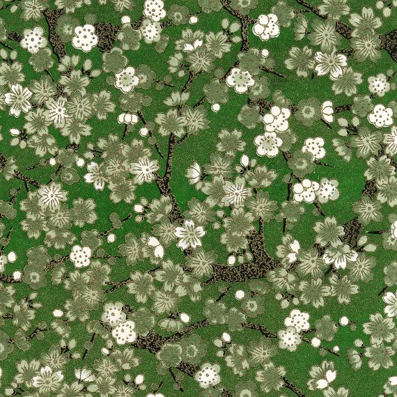 """9"""" x 12"""" Japanese Chiyogami Paper - Floral Pattern - Green and White Cherry Blossom"""