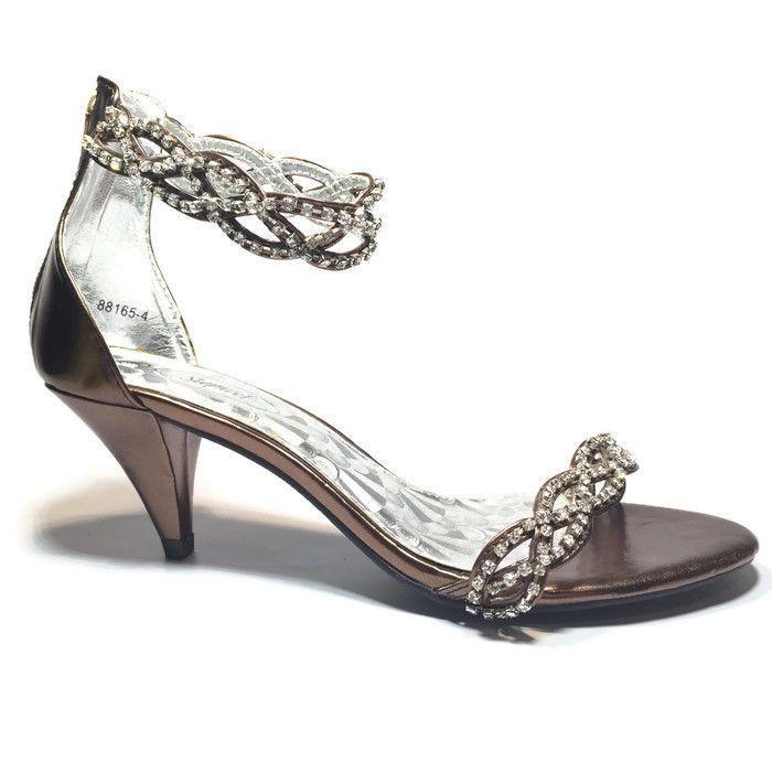 Stepwel Ladies Sandals Low Kitten Heel Bronze with Rhinestones SIZE 7.5 | eBay