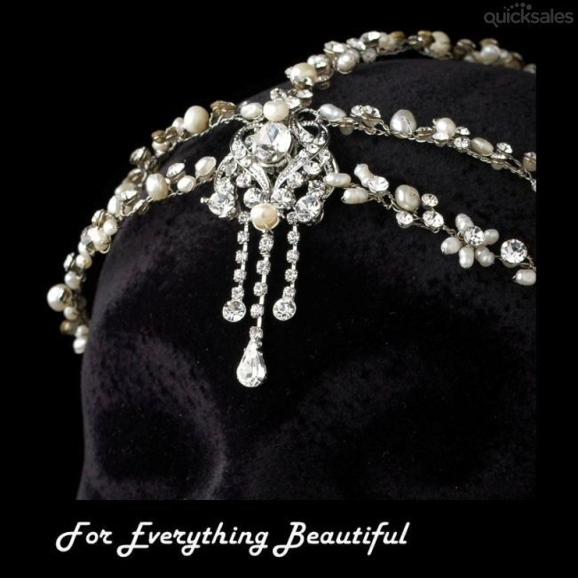 Vines Freshwater Pearl Rhinestone Accent Wedding Bridal Headband by JB7339 - $170.00