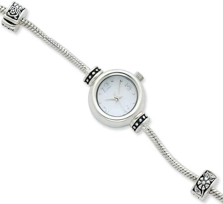 Round Face Sterling Silver Watch For European Style Beads