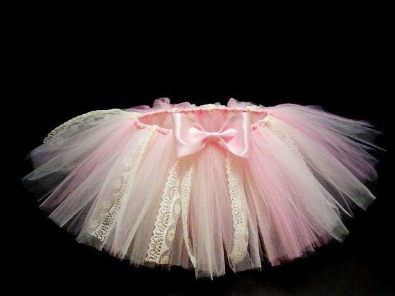 Pink Ivory Vintage Tutu Skirt Baby Infant Newborn