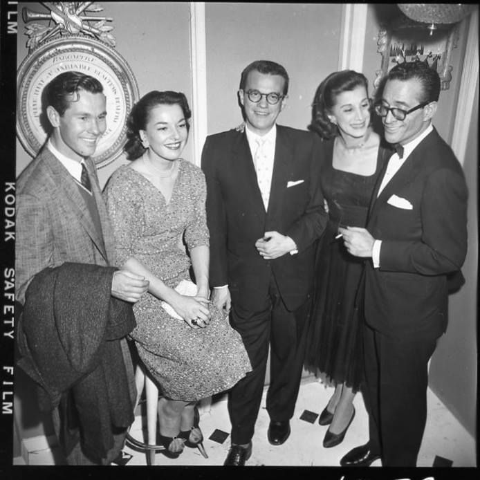 Not sure of dates ,Probably 1957 or 1958. Bill and Anne didn't get married until late 1955, and Carson was based in Los Angeles until coming to NYC to Who Do You Trust? in 1957.  Reading from right to left, you have ,Robert Q. Lewis ,Joan Alexander (panelist on Q's The Name's The Same), Bill Cullen, Bill's wife Anne...and our very handsome young Johnny Carson!