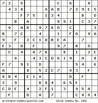 Printable 16x16 Sudoku Coloring Amp Challenges For Adults