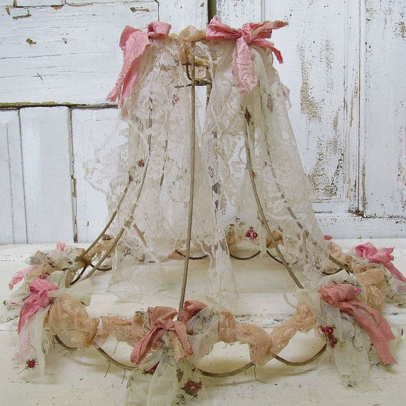 Large wire lampshade up cycled tattered salvaged lace fabric shabby cottage chic ornate lamp shade lighting decor anita spero design