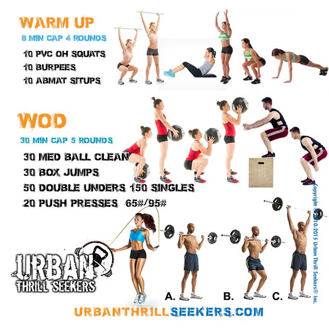 30 med ball clean, 30 box jumps, 50 double unders, 150 singles jump rope,20 push…